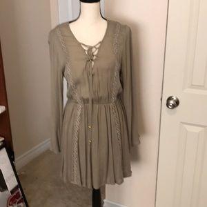 NWT Olive Green Peasant Dress